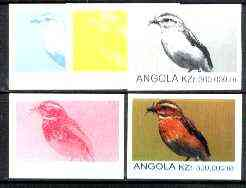 Angola 1999 Birds 300,000k from Flora & Fauna def set, the set of 5 imperf progressive colour proofs comprising the four individual colours plus completed design (all 4-c...