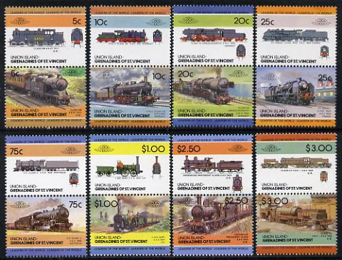 St Vincent - Union Island 1984 Locomotives #2 (Leaders of the World) set of 16 unmounted mint