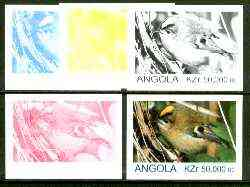Angola 1999 Birds 50,000k from Flora & Fauna def set, the set of 5 imperf progressive colour proofs comprising the four individual colours plus completed design (all 4-co...