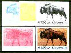 Angola 1999 Gnu (Wildebeest) 20,000k from Flora & Fauna def set, the set of 5 imperf progressive colour proofs comprising the four individual colours plus completed desig...