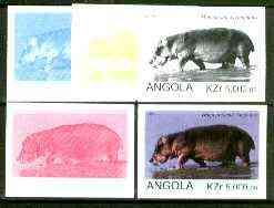 Angola 1999 Hippopotamus 5,000k from Flora & Fauna def set, the set of 5 imperf progressive colour proofs comprising the four individual colours plus completed design (all 4-colour composite) 5 proofs unmounted mint