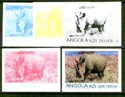 Angola 1999 Rhino 200,000k from Flora & Fauna def set, the set of 5 imperf progressive colour proofs comprising the four individual colours plus completed design (all 4-colour composite) 5 proofs unmounted mint