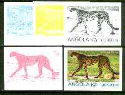Angola 1999 Cheetah 100,000k from Flora & Fauna def set, the set of 5 imperf progressive colour proofs comprising the four individual colours plus completed design (all 4-colour composite) 5 proofs unmounted mint