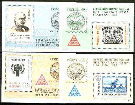 Argentine Republic 1980 Prenfil 80 set of 4 m/sheets unmounted mint, SG MS 1663, stamps on stamp on stamp, stamps on rowland hill, stamps on exhibitions, stamps on literature, stamps on , stamps on  iyc , stamps on , stamps on columbus, stamps on stamponstamp