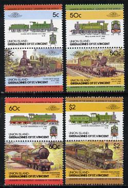 St Vincent - Union Island 1985 Locomotives #3 (Leaders of the World) set of 8 unmounted mint