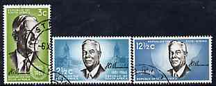 South Africa 1966 Verwoerd Commemoration set of 3 fine used SG 266-8