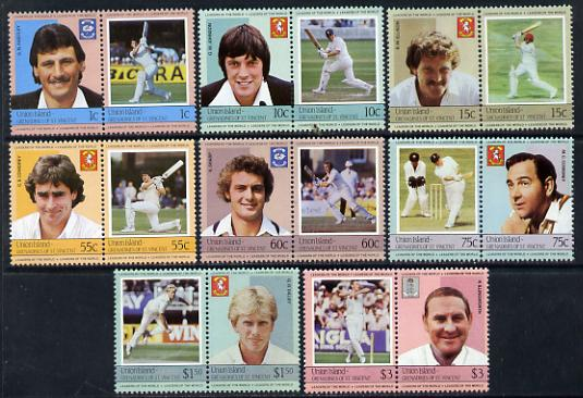 St Vincent - Union Island 1984 Cricket (Leaders of the World) set of 16 unmounted mint