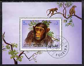 Fujeira 1972 5Rs mini sheet featuring chimpanzee fine cto used Mi BL 206A