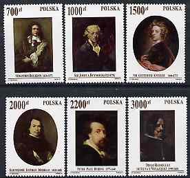 Poland 1992 Self Portraits set of 6 fine unmounted mint SG 3389-94, stamps on arts, stamps on rubens, stamps on reynolds, stamps on kneller, stamps on murillo, stamps on velazquez, stamps on bourdon