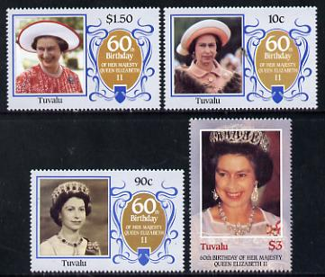 Tuvalu 1986 Queen's 60th Birthday set of 4 unmounted mint, SG 381-84