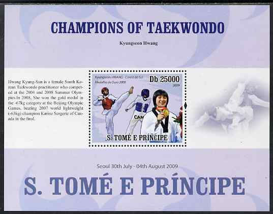 St Thomas & Prince Islands 2009 Taekwondo - Hwang perf s/sheet (English Text) unmounted mint