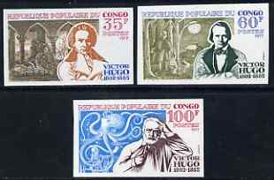 Congo 1977 175th Birth Anniversary of Victor Hugo set of 3 IMPERF unmounted mint as SG 575-77