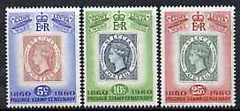 St Lucia 1960 Stamp Centenary set of 3 unmounted mint SG 191-3*