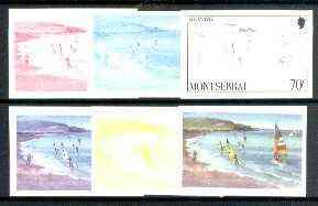 Montserrat 1986 Sailing & Windsurfing 70c (from Tourism set) set of 6 imperf progressive proofs comprising the 4 individual colours plus 2 & 3-colour composites, as SG 710