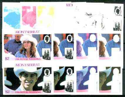 Montserrat 1986 Royal Wedding $2 se-tenant pair (Fergie & Andrew) set of 9 imperf progressive proofs comprising 5 individual colours various multiple-colour composites incl completed design, as SG 693a