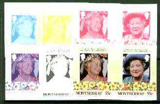 Montserrat 1985 Life & Times of HM Queen Mother 55c se-tenant pair, the set of 6 imperf progressive proofs comprising the 4 individual colours 2 and all 4-colour composites (completed design) as SG 636a