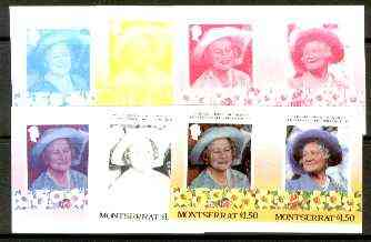 Montserrat 1985 Life & Times of HM Queen Mother $1.50 se-tenant pair, the set of 6 imperf progressive proofs comprising the 4 individual colours 2 and all 4-colour composites (completed design) as SG 642a