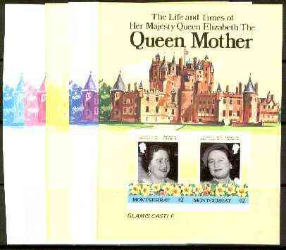 Montserrat 1985 Life & Times of HM Queen Mother (Glamis Castle) m/sheet, the set of 6 imperf progressive proofs comprising 2 individual colours 2 x 2 and all 4-colour composites (completed design) as SG MS 644