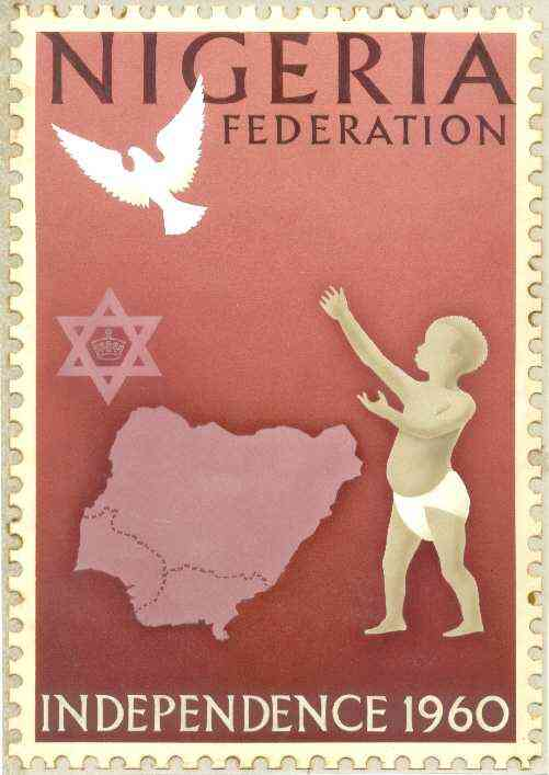 Nigeria 1960 Independence - original hand-painted artwork (undenominated) showing robed Child, dove, six-pointed star and map of Nigeria, possibly by M Goaman on card 150 x 230mm