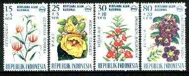Indonesia 1966 National Disaster Fund - Flowers set of 4 unmounted mint, SG 1113-16*
