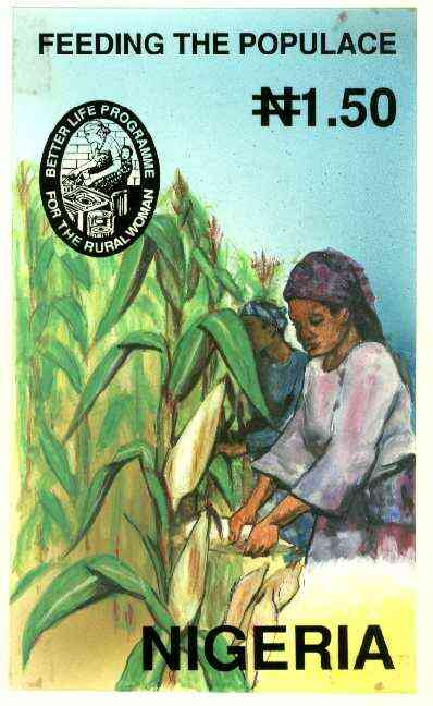 Nigeria 1992 National Centre for Women's Development - original hand-painted artwork for N1.50 value (Woman working in Corn field) by NSP&MCo Staff Artist Mrs A O Adeyeye on board 130 x 220 mm with overlay endorsed B5