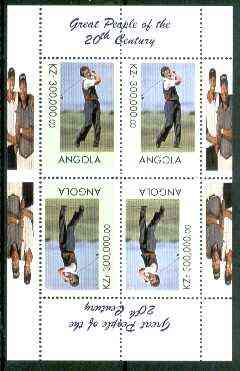 Angola 1999 Great People of the 20th Century - Aoki (Japanese Golfer) sheetlet of 4 (2 tete-beche pairs with the Tiger Woods in margin) unmounted mint