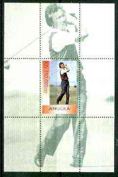 Angola 1999 Aoki (Japanese Golfer) perf souvenir sheet unmounted mint