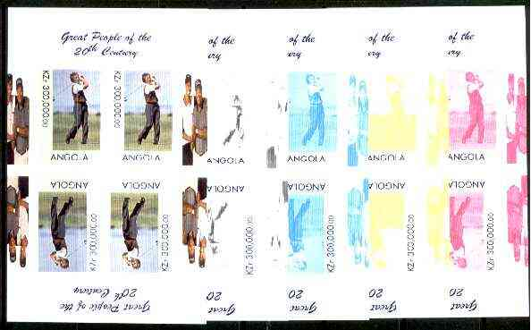 Angola 1999 Great People of the 20th Century - Aoki (Japanese Golfer) sheetlet of 4 (2 tete-beche pairs with the Tiger Woods in margin) the set of 5 imperf progressive colour proofs comprising various colour combinations incl all 4 colours unmounted mint