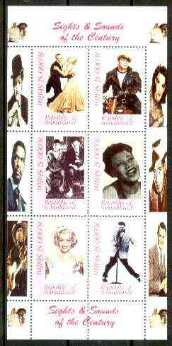 Somaliland 1999 Sights & Sounds of the Century - perf sheetlet of six (Fred & Ginger, Brando on Motorbike, Laurel & Hardy, Ella, Marilyn & Elvis) unmounted mint