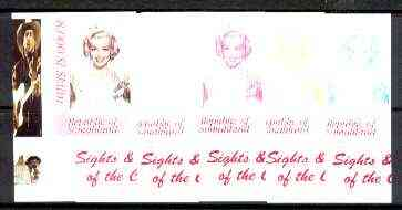 Somaliland 1999 Marilyn Monroe from Sights & Sounds of the Century - set of 5 imperf progressive colour proofs comprising various colour combinations incl all 4 colours