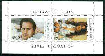 Touva 1995 Hollywood Stars #4 perf m/sheet containing 2 values (Kevin Costner & Cindy Crawford) unmounted mint