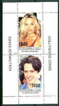 Touva 1995 Hollywood Stars #5 perf m/sheet containing 2 values (Pamela Anderson & Hugh Grant) unmounted mint