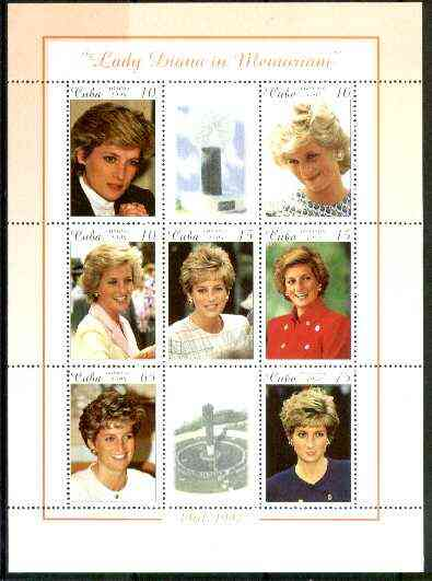 Cuba 1999 Princess Diana Memorial perf sheetlet containing 7 values plus 2 labels unmounted mint