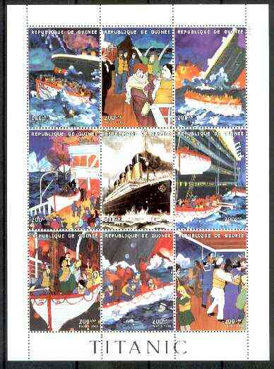 Guinea - Conakry 1998 Titanic perf sheetlet containing complete set of 9 values unmounted mint