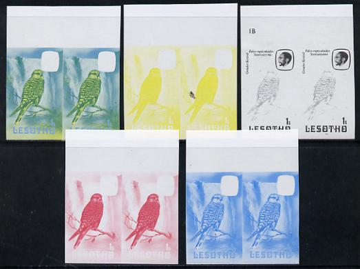 Lesotho 1981 Kestrel 1s the set of 5 imperf progressive proofs comprising the 4 individual colours, plus blue & yellow, scarce (as SG 437) unmounted mint