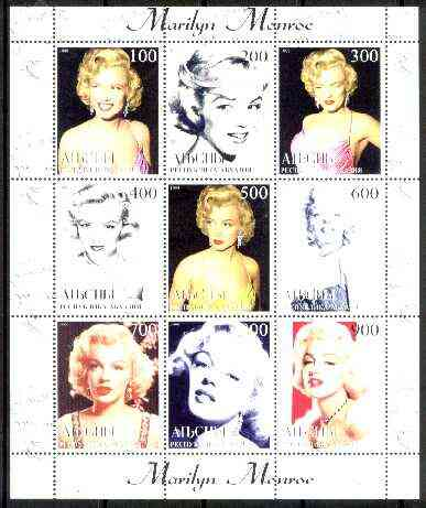 Abkhazia 1999 Marilyn Monroe perf sheetlet containing complete set of 9 values unmounted mint