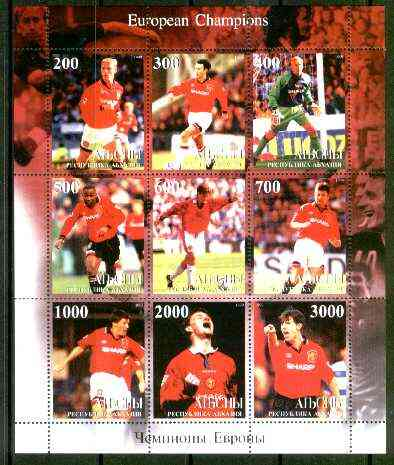 Abkhazia 1999 Manchester United (European Football Champions) perf sheetlet containing complete set of 9 values unmounted mint