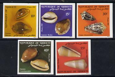 Djibouti 1985 Shells SG 959-63 imperf set of 5 from limited printing unmounted mint