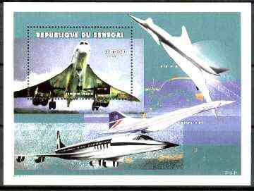 Senegal 1999 Manned Flight perf souvenir sheet  (2000f showing Concorde) unmounted mint