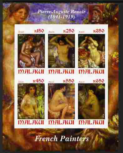 Malawi 2010 Art - French Painters - Renoir imperf sheetlet containing 6 values unmounted mint