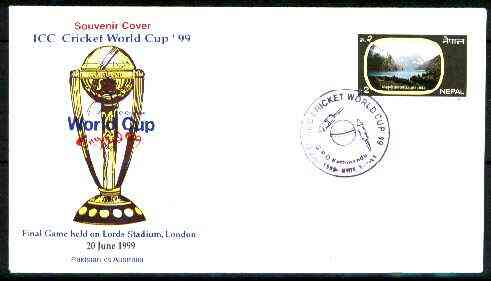Nepal 1999 ICC Cricket World Cup illustrated cover with special cancellation