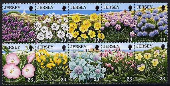 Jersey 1995 European Nature Conservation Year - Wild Flowers set of 10 unmounted mint, SG 707-16