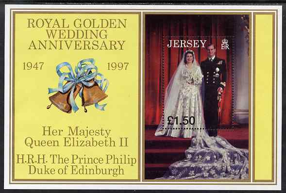 Jersey 1997 Golden Wedding of QEII & Prince Philip perf m/sheet unmounted mint SG MS842