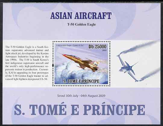 St Thomas & Prince Islands 2009 Asian Aircraft - T-50 perf s/sheet (English Text) unmounted mint