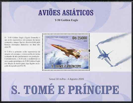 St Thomas & Prince Islands 2009 Asian Aircraft - T-50 perf s/sheet (Portuguese Text) unmounted mint