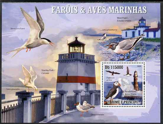 St Thomas & Prince Islands 2009 Lighthouses and Sea Birds - Puffin perf s/sheet unmounted mint