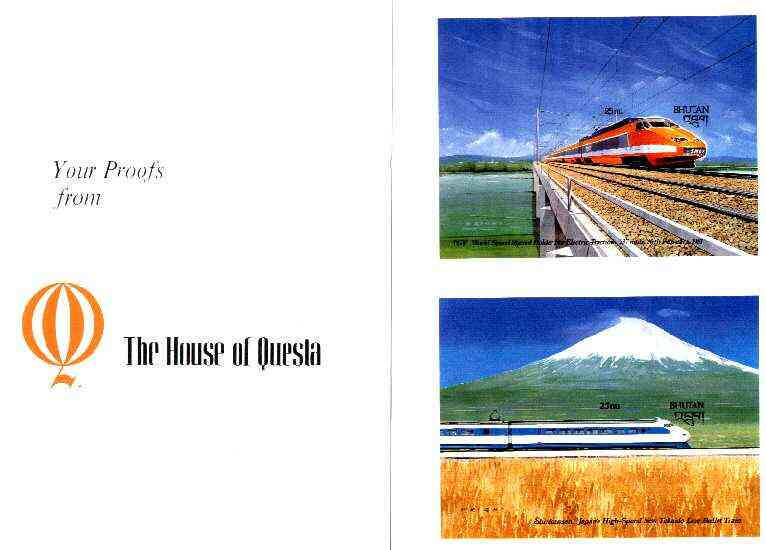 Bhutan 1988 Transport Innovations - Shinkansen and TGV Railways imperf m/sheets mounted in Folder entitled