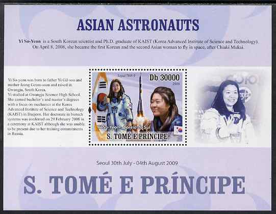 St Thomas & Prince Islands 2009 Asian Astronauts - Yi So  Yeon perf s/sheet (English Text) unmounted mint