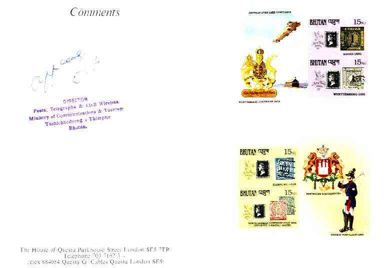 Bhutan 1990 150th Anniversary of Penny Black - Zeppelin & Postillion imperf m/sheets mounted in Folder entitled
