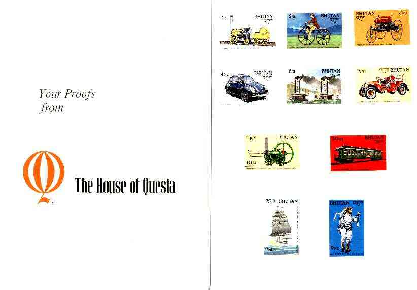 Bhutan 1988 Transport Innovations - the complete set of 10 imperf values mounted in Folder entitled